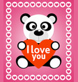 valentines day background card with panda vector image vector image