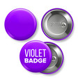 violet badge mockup pin brooch violet vector image vector image