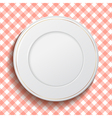 White classic plate on red checkered tablecloth vector image