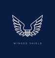 winged shield vector image vector image