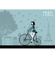 Woman on the bicycle in Paris vector image vector image