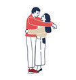 young man and woman standing face to face vector image vector image