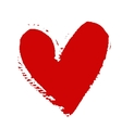 Hand-drawn painted red heart element for vector image