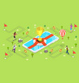 3d isometric flat concept mobile gaming vector image vector image