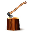 a huge ax with a comfortable wooden handle and a vector image vector image