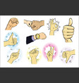 a set of male hand gestures vector image vector image