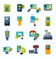 atm payment flat icons set vector image