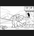 balck and white coloring page dragon in the vector image