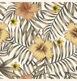 brown tropical leaves golden hibiscus beige vector image vector image