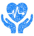 cardiology care hands grunge icon vector image vector image