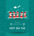 christmas and happy new year with kids card vector image vector image