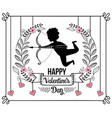cupid with arrow and arc to valentine day vector image vector image