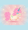 cute unicorn with stars vector image vector image