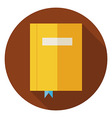 Flat Book with Bookmark Circle Icon with Long vector image vector image