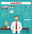 geneticist and medical equipment icons vector image vector image