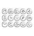 hand drawn social icon set vector image