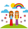 hippies scenery cartoon vector image