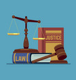 justice scales and wood judge gavel wooden hammer vector image vector image
