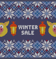 knitted christmas pattern with yellow pigs vector image vector image