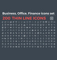 line icons for business office finance vector image