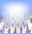 little cute bunnies in hyacinths and tulip flowers vector image vector image