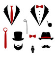 men s tuxedo mustache monocle beard pipe and vector image