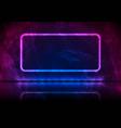 neon rectangle frame on blue violet grunge vector image vector image