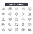 networking line icons signs set outline vector image vector image