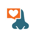 nose with heart in chat bubble colored icon vector image