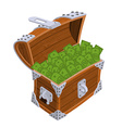 Open chest with money Old casket with cash Wealth vector image vector image