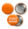 orange badge mockup pin brooch orange vector image vector image