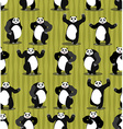 Panda seamless pattern Chinese bear ornament Set vector image
