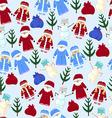 pattern Christmas Santa Claus snow maiden snowman vector image vector image