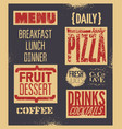 retro typographic grunge restaurant menu design vector image