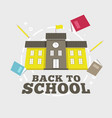 school building with book and pencil vector image vector image