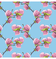seamless background with blooming magnolia tree vector image