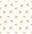 seamless pattern with honey bees drawn with vector image vector image