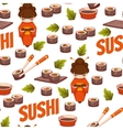Seamless pattern with sushi background vector image