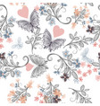 seamless rustic wallpaper pattern with florals vector image