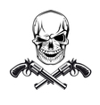 Smiling skull with revolvers vector | Price: 1 Credit (USD $1)