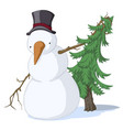 snowman spruce colored vector image