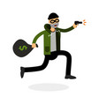 thief in a mask running with a gun and money bag vector image vector image