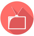 tv icon on long shadow vector image vector image