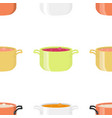 various soups in bowls dishes seamless pattern vector image