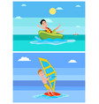 windsurfing collection summer vector image vector image