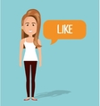 woman talk chat bubble isolated vector image