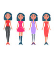 young girls in casual and elegant outfits set vector image vector image