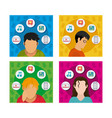 young people using social media vector image vector image