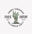 zombie handshake party vintage style halloween vector image
