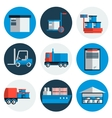Delivery flat icons set vector image